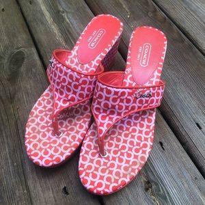 COACH: orange wedge thong sandals size 7.5